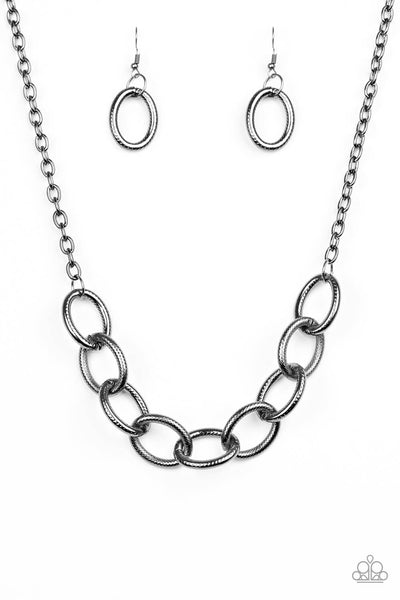 Paparazzi Boldly Bronx - Black Gunmetal Link Necklace Set - Princess Glam Shop