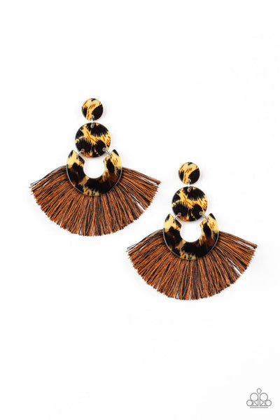 Paparazzi One Big Party ANIMAL - Cheetah Print Acrylic w/ Multi Color Fringe Earring - PrincessGlamShop