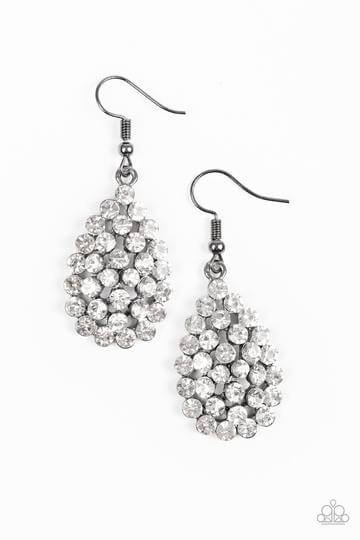Paparazzi Sparkling Sparkle-naire - Black - White Rhinestones Earrings - Princess Glam Shop