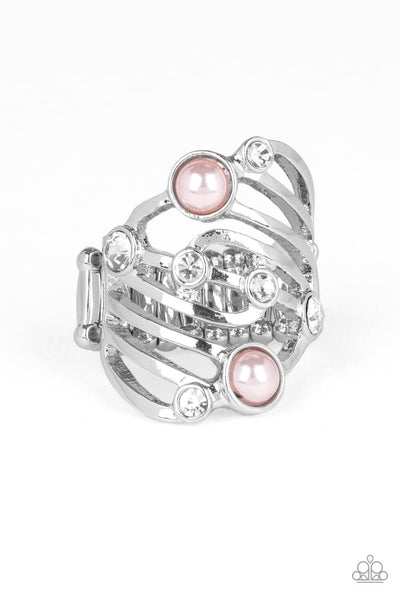 Paparazzi Dancing Diamonds - Pink Pearl Ring - Princess Glam Shop