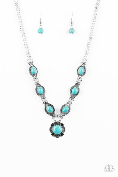 Paparazzi Desert Dreamin - Blue Stone Necklace Set & Bracelet Combo - Princess Glam Shop