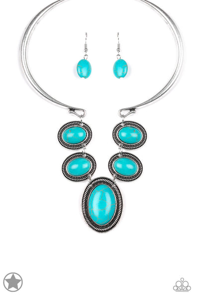 Paparazzi River Ride Blue Turquoise Stone Necklace Set - PrincessGlamShop