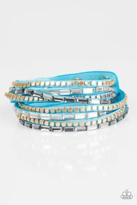 Paparazzi This Time With Attitude - Blue Double Wrap Bracelet - Princess Glam Shop