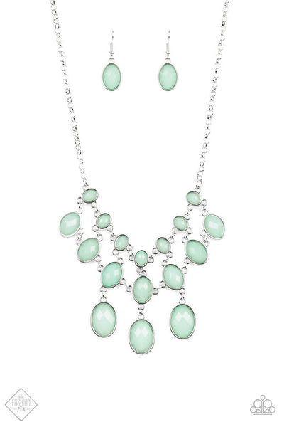 Paparazzi Mermaid Marmalade Spearmint Green Cascading Necklace Set - Princess Glam Shop
