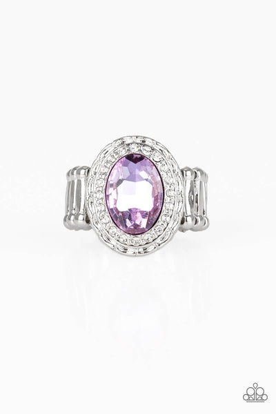 Paparazzi Fiercely Flawless - Purple Gem Stone Stretchy Band Ring - PrincessGlamShop