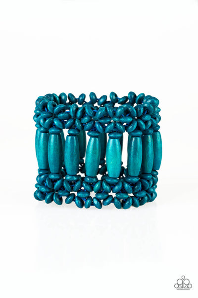 Paparazzi Barbados Beach Club - Blue Wood Stretchy Bracelet - Princess Glam Shop