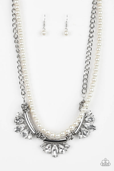 Paparazzi Bow Before The Queen - White Pearl & Crystal Necklace Set - PrincessGlamShop