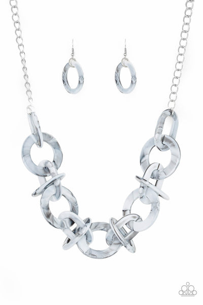 Paparazzi Chromatic Charm - Silver Faux Marble Acrylic Necklace Set - Princess Glam Shop