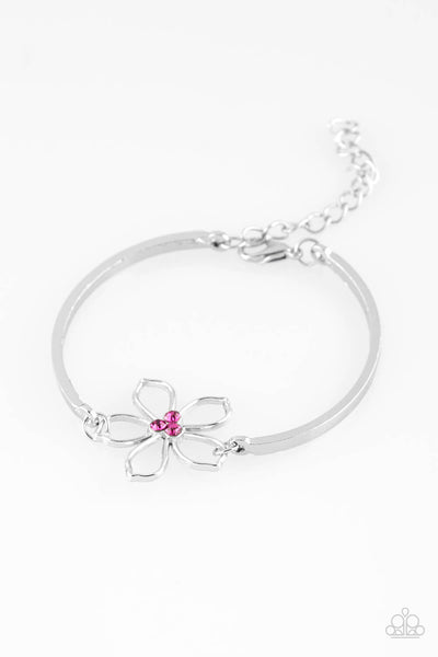 Paparazzi Hibiscus Hipster - Pink Rhinestone Silver Flower Bracelet - Princess Glam Shop
