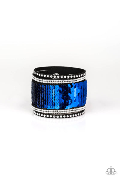 Paparazzi MERMAIDS Have More Fun -Reversible Blue and Silver Snap Wrap Bracelet - Princess Glam Shop