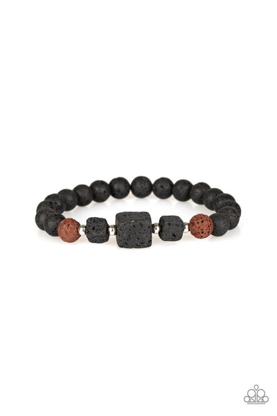 Paparazzi Refreshed and Rested - Brown Lava Rock Bead Bracelet - Princess Glam Shop