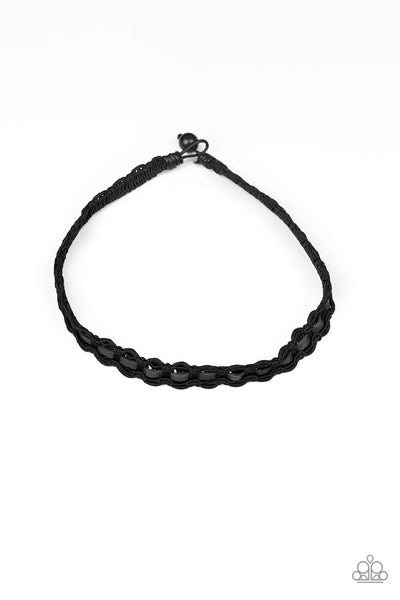 Paparazzi Track Tracker - Black Leather Corded Necklace - Princess Glam Shop