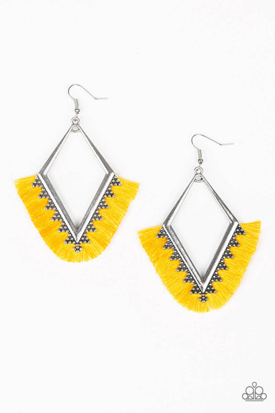 Paparazzi When In Peru - Fabric Fringe Kite Shaped Earrings - PrincessGlamShop