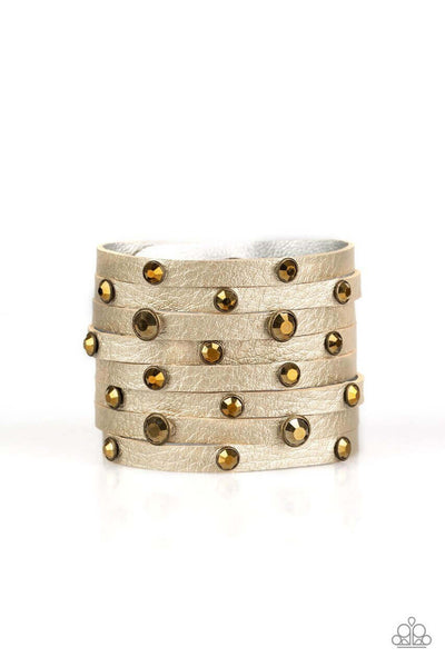 Paparazzi Go Getter Glamorous - Brass Snap Wrap Bracelet - Princess Glam Shop