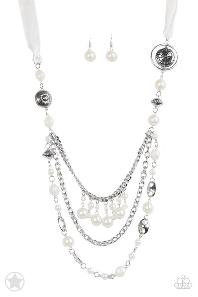 Paparazzi All The Trimmings Ivory/White Satin Ribbon Necklace Set - Princess Glam Shop