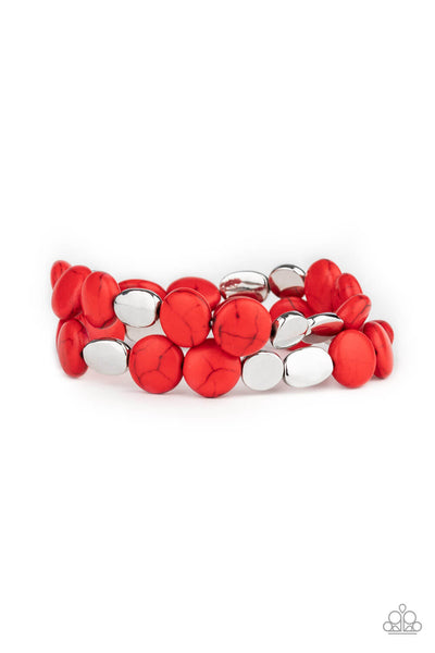 Paparazzi Simply Sedimentary - Red Bracelet Set - Princess Glam Shop