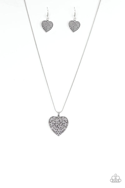 Paparazzi Look Into Your Heart - Silver Necklace Set - Princess Glam Shop