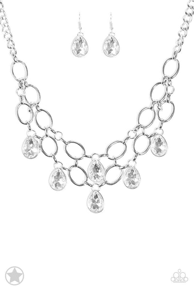 Paparazzi Show-Stopping Shimmer - White Teardrop Necklace Set - Princess Glam Shop