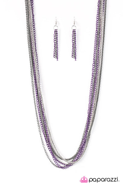 Paparazzi Colorful Calamity - Purple Multi Chain Necklace Set - Princess Glam Shop