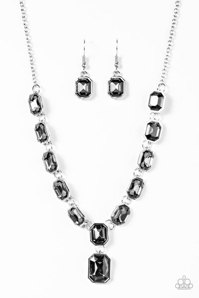 Paparazzi The Right To Remain Sparkly - Silver Emerald Cut Necklace Set - PrincessGlamShop