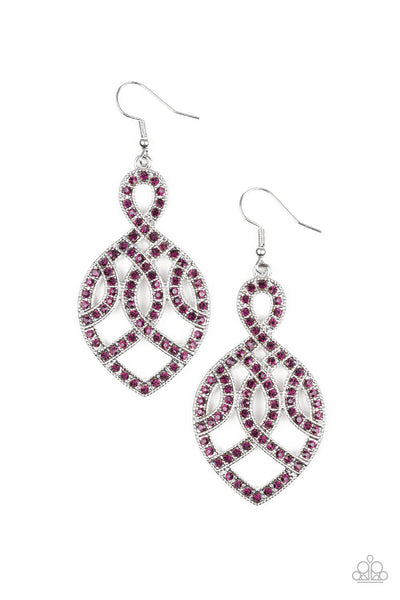 Paparazzi A Grand Statement - Purple Earrings - Princess Glam Shop
