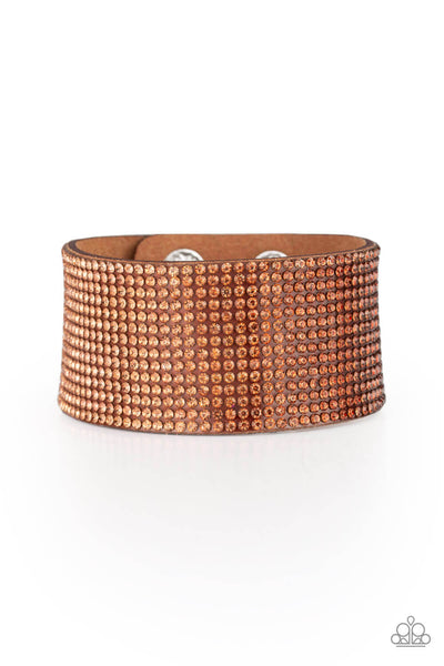 Paparazzi Fade Out - Brown Rhinestone Suede Snap Bracelet - PrincessGlamShop