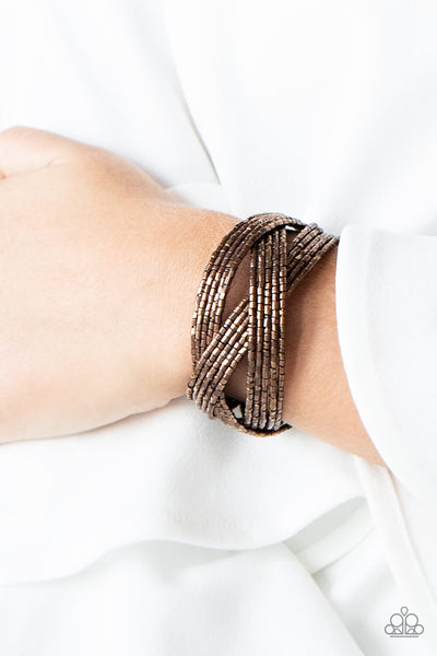 Paparazzi Shooting Stars - Copper Seed Bead Braided Cuff Bracelet - PrincessGlamShop