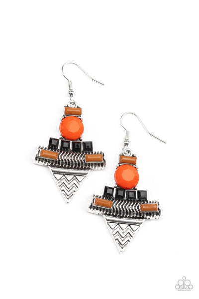 Paparazzi Tribal Terrain - Orange Earrings - Princess Glam Shop