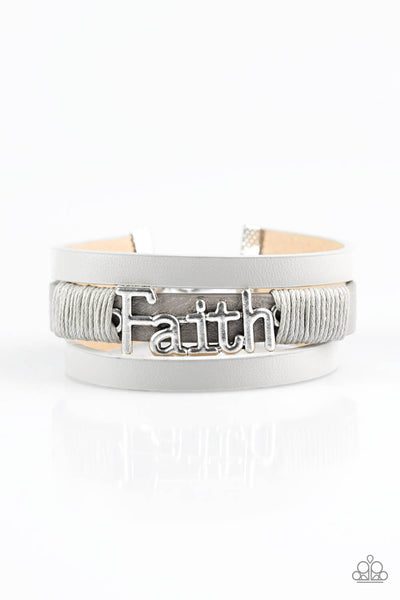 Paparazzi An Act Of Faith - Inspirational Silver Leather Bracelet - Princess Glam Shop