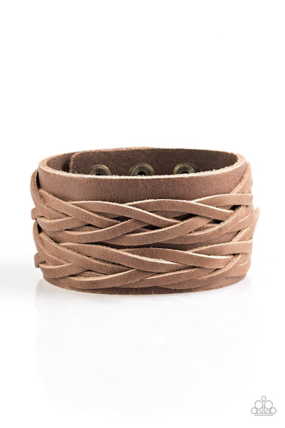 Paparazzi No Mercy - Brown Leather Urban Bracelet - Princess Glam Shop