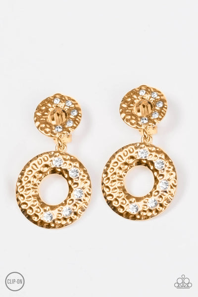 Paparazzi Sophisticated Shimmer - Gold Clip-On Earrings - PrincessGlamShop