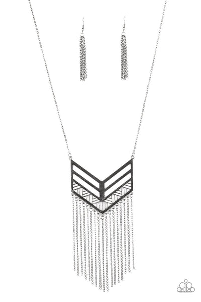 Paparazzi Alpha Attitude - Black Chevron Necklace Set - Princess Glam Shop