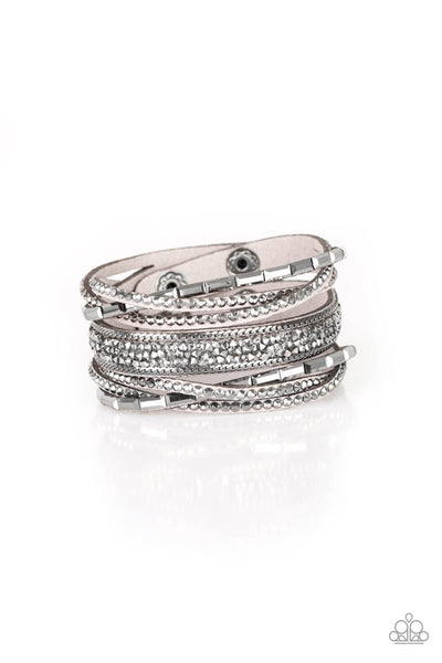 Paparazzi Punk Prowess - Silver Snap Wrap Bracelet - Princess Glam Shop