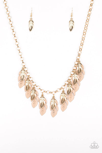 Paparazzi Rule The Roost - Brown & Gold Leaf Necklace Set - Princess Glam Shop