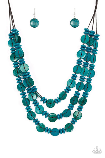 Paparazzi Barbados Bopper - Blue Wood Necklace Set - Princess Glam Shop