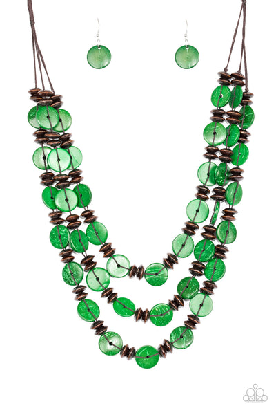 Key West Walkabout - Green Wood Necklace Set - Princess Glam Shop