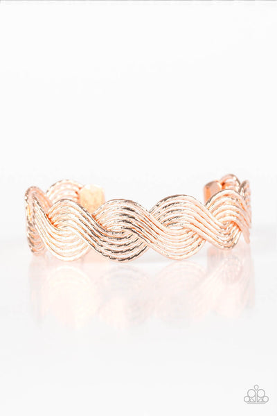 Paparazzi Braided Brilliance Rose Gold Cuff Bracelet - Princess Glam Shop
