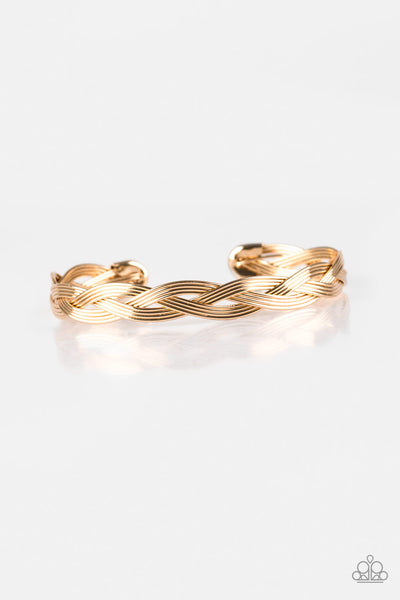 Paparazzi Business As Usual - Gold Braided Cuff Bracelet - Princess Glam Shop