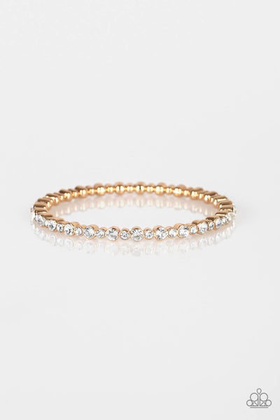 Paparazzi Seven Figure Fabulous Gold Rhinestone Bangle Bracelet - Princess Glam Shop