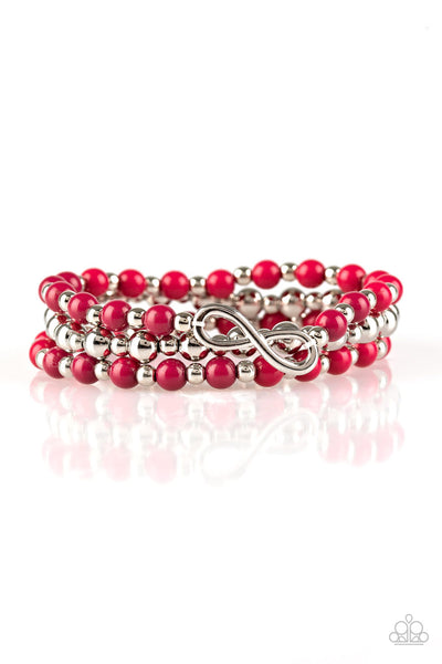 Paparazzi Immeasurably Infinite Pink Silver Bead Infinity Bracelet - Princess Glam Shop