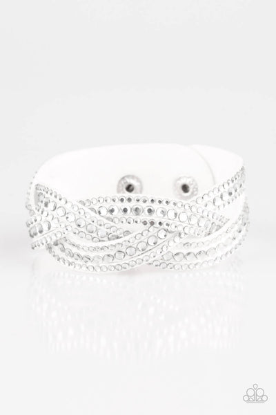 Paparazzi Bring On The Bling - White Braided Snap Bracelet - Princess Glam Shop