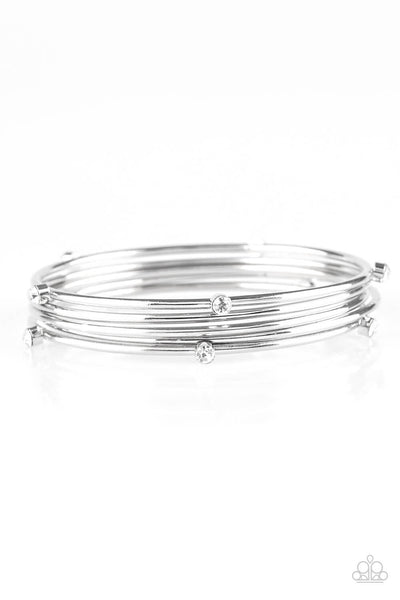 Paparazzi Delicate Decadence - White Bangle Bracelet Set - Princess Glam Shop