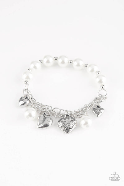 Paparazzi More Amour - White Heart Bracelet - Princess Glam Shop