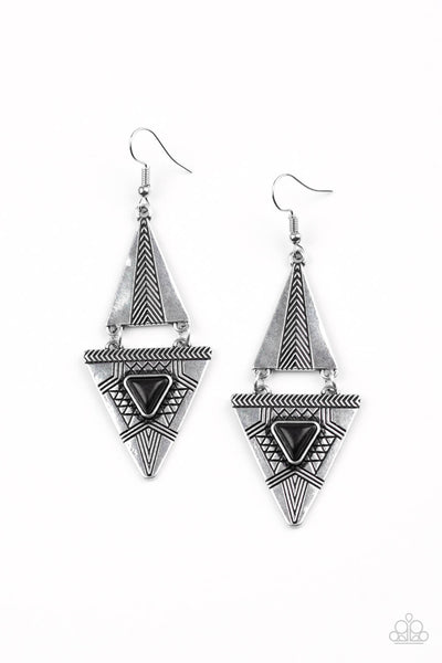 Paparazzi El Paso Edge - Black Earrings - Princess Glam Shop