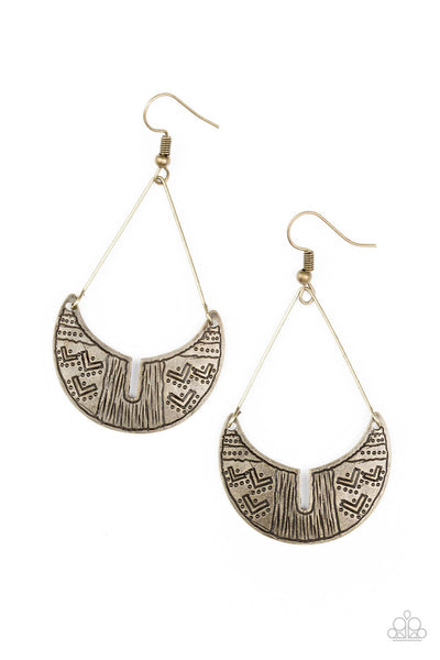 Paparazzi Trading Post Trending Brass Earrings - Princess Glam Shop