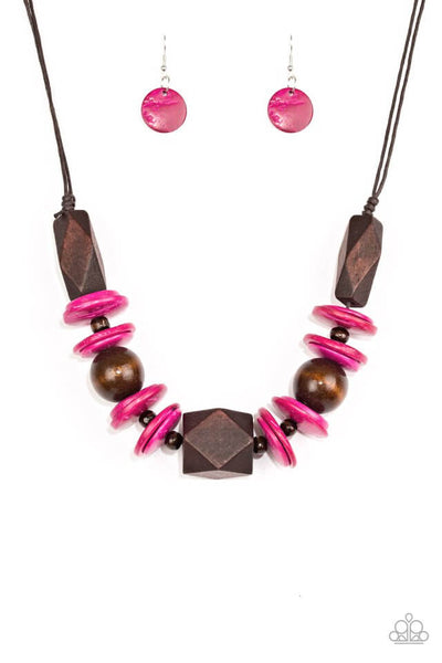 Paparazzi Pacific Paradise - Pink Wood Necklace Set - Princess Glam Shop