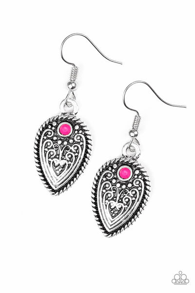 Paparazzi Distance PASTURE - Pink Earrings - Princess Glam Shop