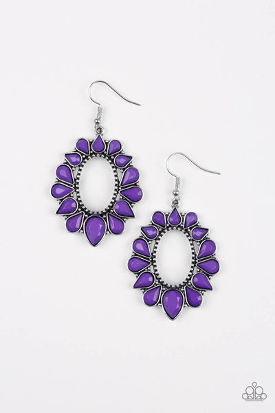 SOLD OUT Paparazzi Fashionista Flavor - Purple Teardrop Flower Earrings - Princess Glam Shop