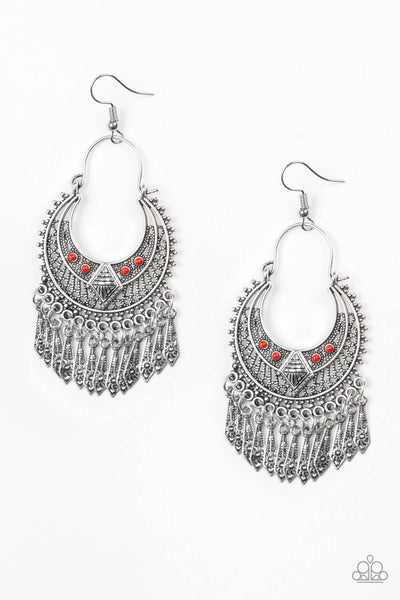 Paparazzi Walk On The Wildside - Red Earrings - PrincessGlamShop