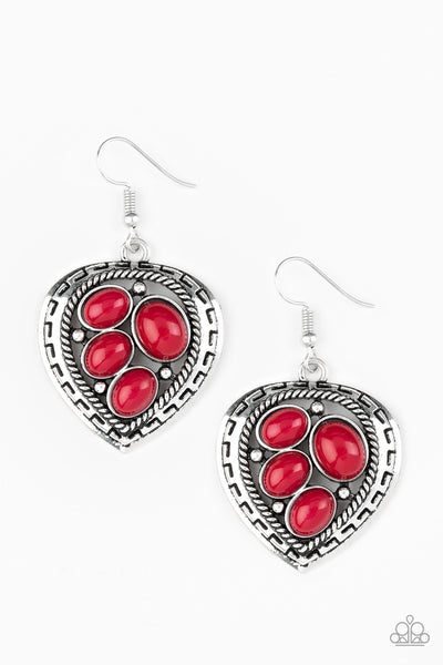 Paparazzi Wild Heart Wonder - Red Earrings - Princess Glam Shop